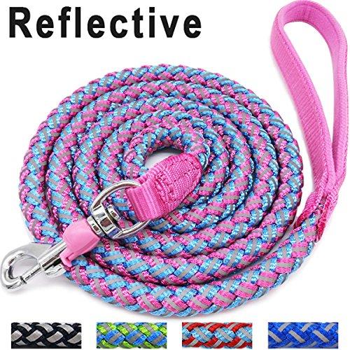 Mycicy Hundeleine, 1,8 m, für Bergsteiger, Pink – reflektierendes Nylon geflochten, strapazierfähige Hundetraining-Leine für große und mittelgroße Hunde (pink)
