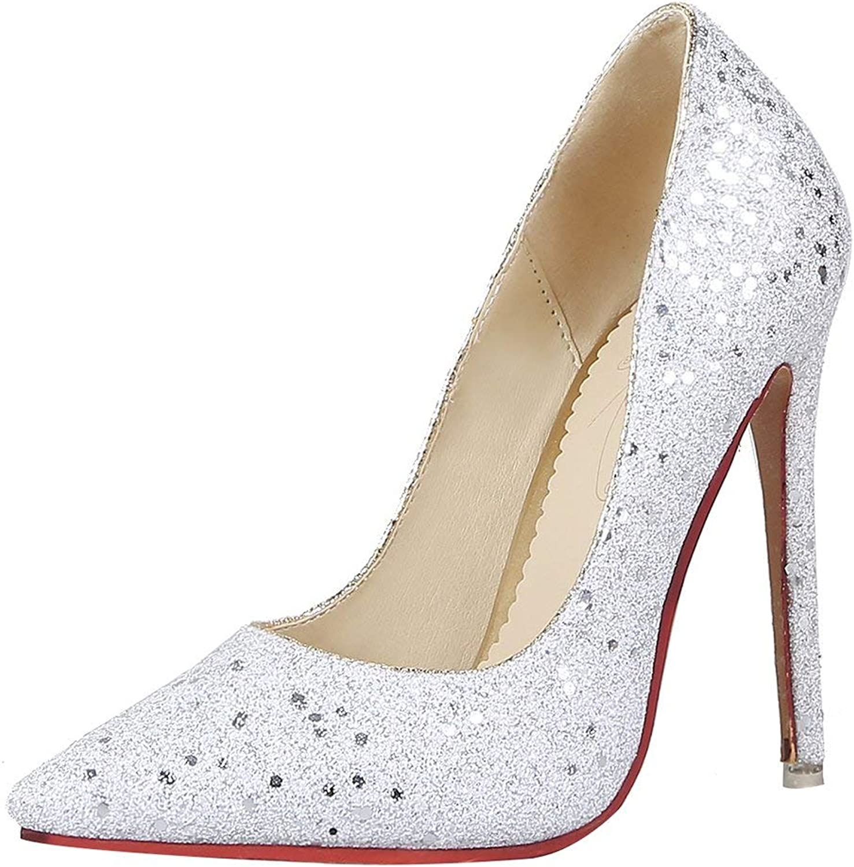 KIKIVA Women Glitter High Heel Pumps Pointed Toe Stiletto Court shoes