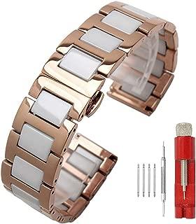 Luxury Black White Blue Green Brown Pink Ceramic Watch Band Stainless Steel Watch Bracelets Deployment Clasp Metal Watch Strap for Men Women 14mm 16mm 18mm 20mm 22mm