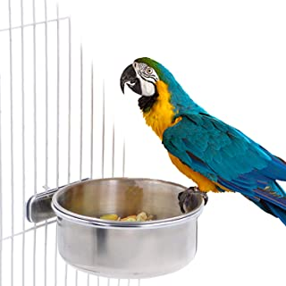 BWOGUE Tazas de alimentación de loros para pájaros con abrazadera Alimentos de acero inoxidable Cuencos de agua Alimentador de platos para Cockatiel Conure Budgies Periquito Loro Guacamayo Chinchilla de pequeños animales