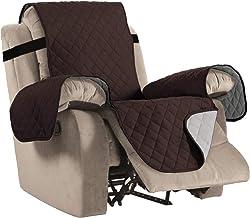 "Reversible Recliner Cover Recliner Slipcover Recliner Furniture Protector 2"" Elastic Strap Slip Resistant Water Repellent Slipcover Seat Width Up to 22""(Recliner 79"" L x 68"" W, Brown/Beige)"