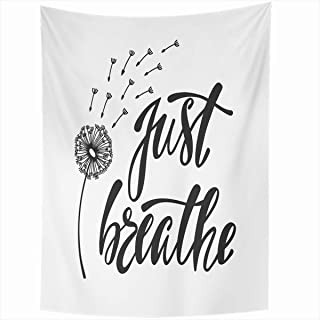 Ahawoso Tapestry Wall Hanging 50x60 Inches Enjoyment Dandelion Just Breathe Inspirational Quote About Calligraphic Freedom Breath Doodle Air Home Decor Tapestries Art for Living Room Bedroom Dorm