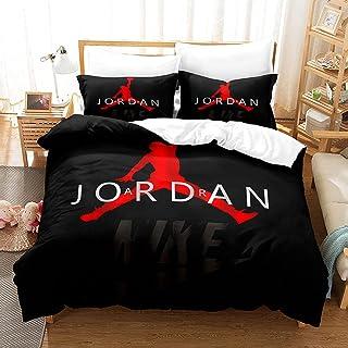 Sets Housses de Couette 3D Motif Jordan,1 Housses de Couette 220x240cm avec 2 Taies d'oreiller 50x75cm,Parure de lit Douce...