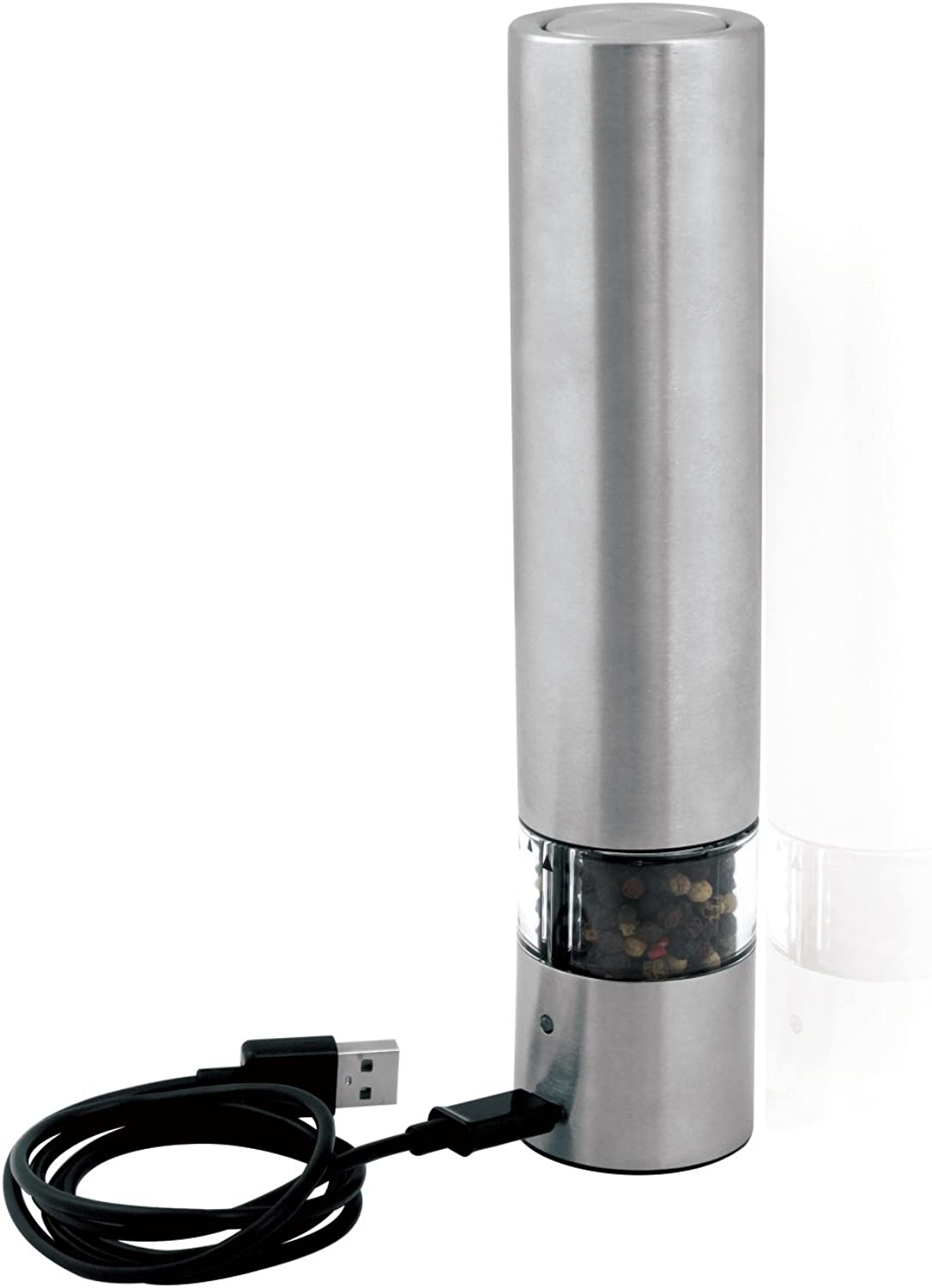 Cole & Mason Rechargeable Electric Salt and Pepper Grinder - Electronic, Battery Operated Mill, Stainless Steel