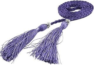 "COODIO Women Teenagers Girls' Fashion Weave Thin Waist Band Tassel Belt for Dress 160cm(63"") for Fashion Jewelry"