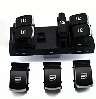 comprar comparacion WINOMO Interruptor de ventana de coche para Volkswagen VW Jetta 5 6 Golf GTI 6 5 Touran Tiguan Caddy Passat b6 cc (negro)