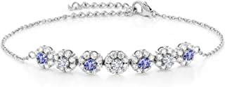 925 Sterling Silver Pendant Bracelet Round Blue Tanzanite and Timeless Brilliant Created Moissanite (IJK) 0.48ct (DEW)