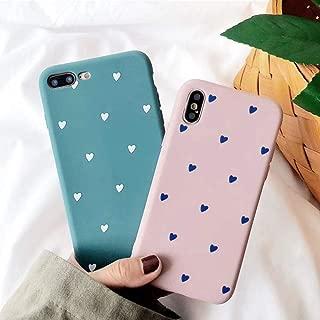 BONTOUJOUR iPhone XS Max Phone Case, Beautiful Art Little Heart Pattern Matte Surface Serie Cover Case Soft TPU 360 Degree Good Protection- Matte Little Heart-Blue