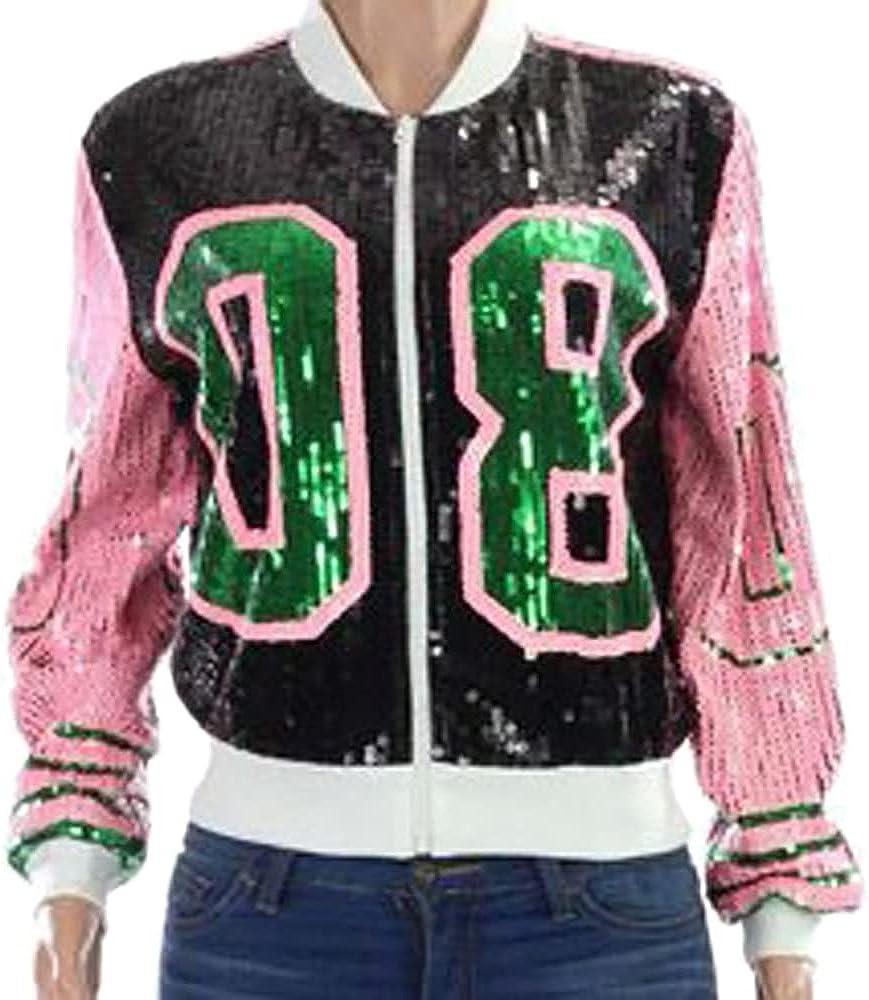 Whitewed Womens Long Sleeve 08 Sparkly Sequin Tops Bomber Varsity Baseball Jacket Coat