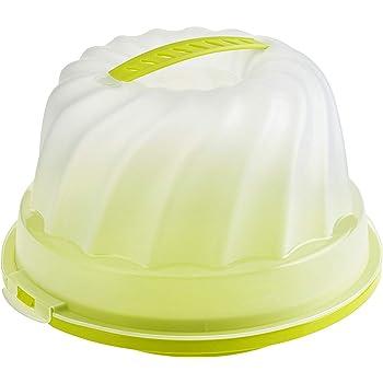 Rotho Fresh Contenitore per torte per Gugelhupf con cappuccio e maniglia per il trasporto, Plastica PP senza BPA, Verde/Transparente, 30.5 x 28.5 x 17.5 cm