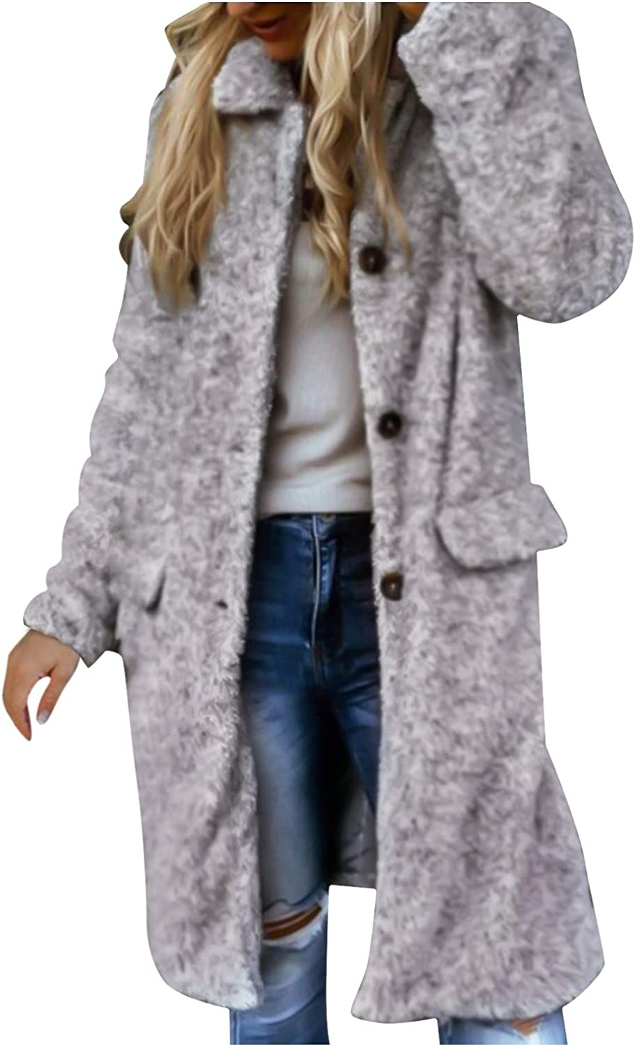 Smileyth Women's Plus Size Cardigan Jacket Loose Lapel Long Sleeve Solid Color Casual Pockets Faux Fur Fuzzy Winter Outerwear Long Coat