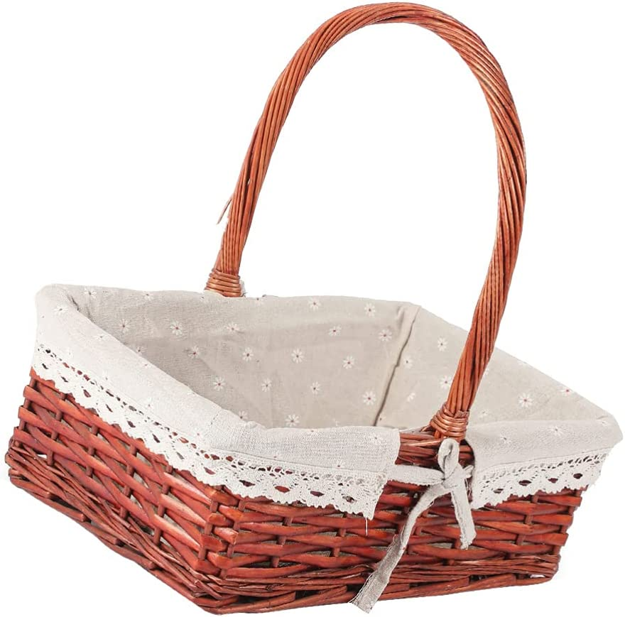 DOITOOL Decoractive Picnic Max 42% OFF Basket Removable Dallas Mall Gift Lining Linen B