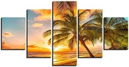 Framed qucongni Quadro su Tela modulare Quadro su Tela Dipinto Quadro Stampato HD 5 Pezzi Birre Tramonto Panorama Immagini Wall Art Home Decor- -50cm