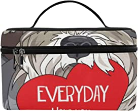Schnauzer in A Glasses with Red Heart Valentines C Pattern Lunch Box Tote Bag Lunch Holder Insulated Lunch Cooler Bag for Women/Men/Picnic/Boating/Beach/Fishing/School/Work