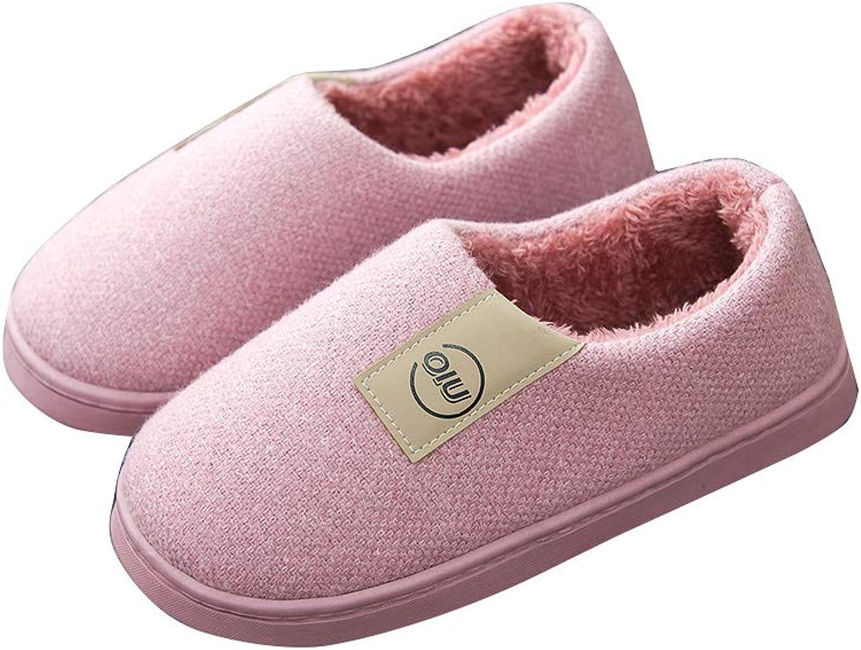 Men's Cotton Cotton Slippers Warm Non-Slip Plush Home shoes Winter Cotton shoes Women (color   D, Size   EUR 36-37)