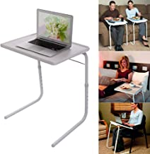Foldable Assembled Table TV Tray Portable Folding Snack Table - Adjustable Sofa Side Table, Bed Laptop Desk Table for Brea...