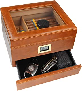 AMANCY Quality Brown Leather Glass Top Handmade Cedar Wood Lined Cigar Humidor Box with Front Digital Hygrometer and Accessory Drawer (Holds Up to 25-50 Cigars)