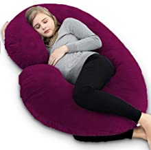 Angel Mommy Luxurious Imported Velvet Pregnancy Pillow/C Shaped Pillow with Zippered Cover - Velvet Wine