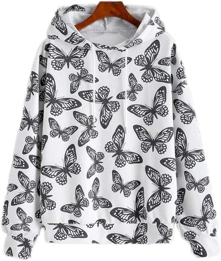 Fenxxxl Womens Long Sleeve Graphic Tshirt Hoodies Tops Drawstring Pullover Sweatshirts
