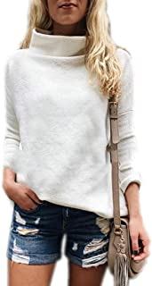 Women Turtleneck Long Sleeve Solid Slim Lightweight Knitted Jumper Sweater