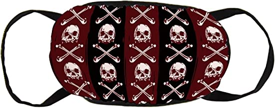 Multic Skull Patroon Black & Wine Red Cotton Face ...