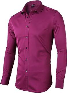 Camisa elástica Hombre, Manga Larga, Slim Fit, Casual/Formal Ambos Disponible y múltiples Colores para Elegir