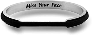 Miss Your Face Hair Tie Deep Grooved Cuff Bracelet Long Distance Relationship Gift
