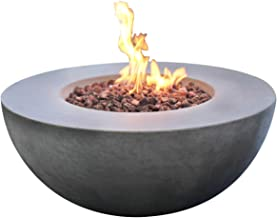 Modeno Outdoor Roca Fire Pit Table Grey Durable Round Fire Bowl Glass Fiber Reinforced Concrete Propane Patio Fire Place 34 Inches Electronic Ignition Cover and Lava Rock Included - Liquid Propane