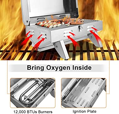 YZJC Tabletop Propane BBQ Gas Grill, Mini Portable Stainless Steel Oven Gas Oven with Foldable Leg, 12000 BTU, Perfect for Ca