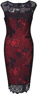 Women's Sleeveless Retro Flare Lace Crew Neck Knee Length Evening Maxi Dress