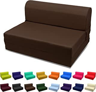 Single Size Sleeper Chair Folding Foam Bed,Ottoman- Coffee/Brown