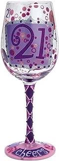 Enesco GLS11-5538M 21st Birthday Wine Glass, 15 oz, Multicolor