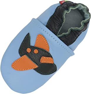 Carozoo avion bleu clair 3-4 Y semelle souple en cuir chaussures enfants