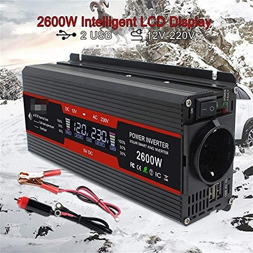 2600W 2600 Watt DC 12V / 24V a AC 220V 230V 240V Inversor automático Pantalla LCD Inversor de Corriente EU/Salida Universal con Cigarrillo