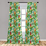 Lunarable Parrots Window Curtains, Wedding Inspired Tropical Flowers and Birds Hawaiian Traditional Flora Pattern, Lightweight Decorative Panels Set of 2 with Rod Pocket, 56' x 84', Green Red