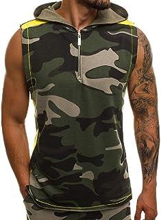 Abeaicoc Men's Camo Hoodie Bodybuilding Casual Print Sleeveless Jersey T-Shirt Tank Top Vest