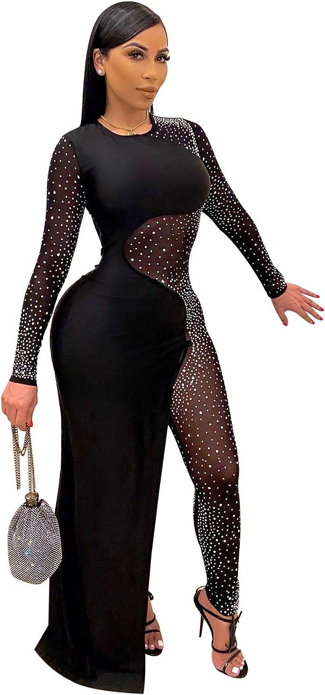 OLUOLIN Women's Sexy Choice See Through Popularity Mesh Spli Glitter V Sequin Neck
