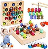 LurcarLE Magnetische Angelspiel Holzspielzeug 2 in 1 Montessori Lernspielzeug Magnettafel Fischspielzeug aus Holz Geschenk für Mädchen Jungen Kinder Lernen Spielzeug
