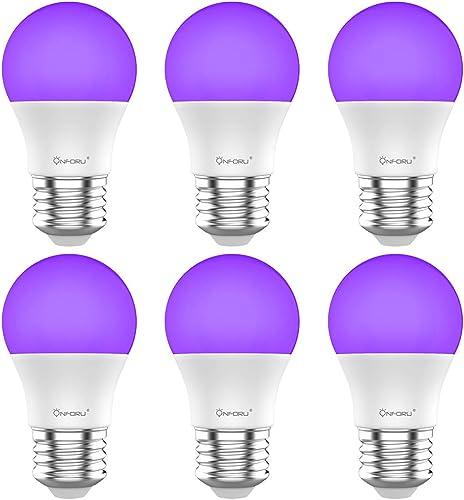 Onforu UV LED Black Lights Bulb, 7W A19 E26 Bulb, UVA Level 385-400nm, Glow in The Dark for Blacklights Party, Body P...