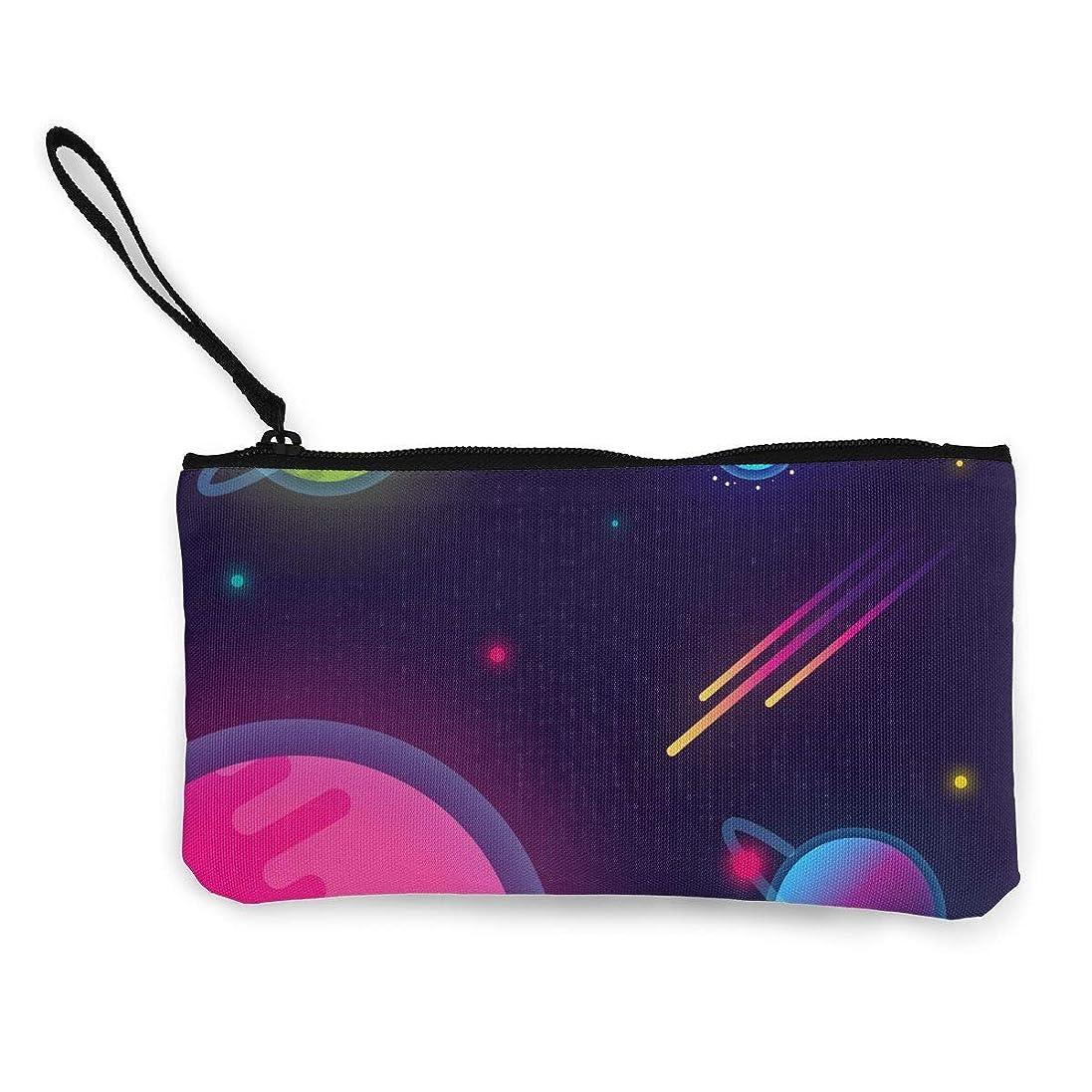 女性解決入射ErmiCo レディース 小銭入れ キャンバス財布 宇宙の惑星 小遣い財布 財布 鍵 小物 充電器 収納 長財布 ファスナー付き 22×12cm