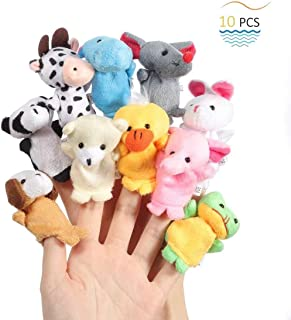 Mumoo Bear 10pcs Cute Plush Animal Finger Puppets Set Soft Plush Toys Doll For Baby Early Educational Toys Birthday Christ...