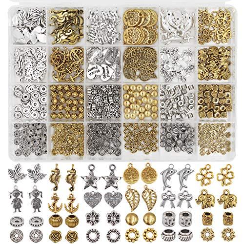 EuTengHao Spacer Charms Anhänger für die Schmuckherstellung enthalten 420 Stück 24 Style Charms Spacer Beads Anhänger für Armbänder Halskette DIY Crafting Schmuckherstellung Zubehör (Silber und Gold)