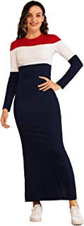 MAI&FUN Women's Bodycon Dress Patchwork O Neck Long Sleeve Knitted Slim Dresses