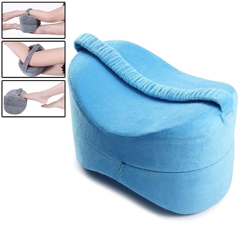 耐えられない分布日帰り旅行に床ずれ防止、妊娠、腰、足の疲労軽減のための膝枕-調節可能なストラップ付きメモリフォームウェッジ輪郭枕,Blue