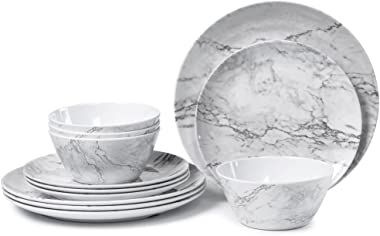 Melamine Dinnerware Set for 4-12 Piece Dinner Dishes Set for Camping Use, Lightweight Unbreakable and Dishwasher Safe, Marble Pattern …