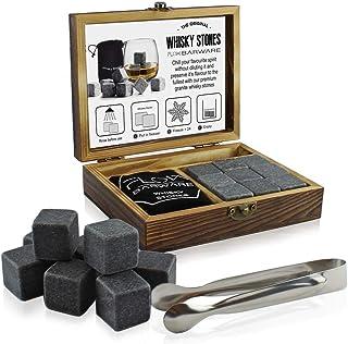 Whisky-Steine Geschenkset, stilvolle Holzbox, inklusive 9 Granit-Kühlsteinen, Eiszange und Aufbewahrungsbeutel Das ultimative Whiskygeschenk