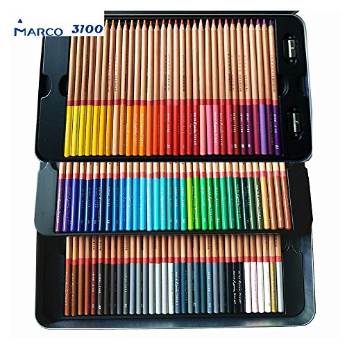 Marco Renior 100 Count Colored Oil Pencils Set Perfet for Artist Sketching Drawing Writing Art Painting/Adult Coloring Books Metal Tin Case Egoshop
