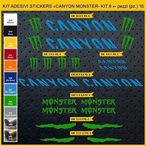 Pimastickerslab Aufkleber Fahrrad Canyon Monster - Kit 8- Kit Aufkleber Stickers 18 Stück – bici Bike Cycle Wählbar Cod.0955 (053 Blu LEGGERO)