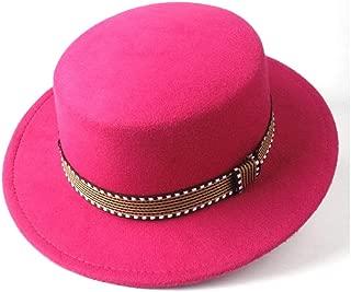 Hat New Men Women Flat Top Fedora Hat With Belt Wool Fascinator Hat Chuch Hat Jazz Hat Size 56-58CM Fashion Hat