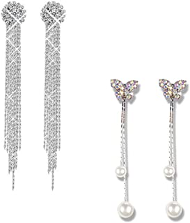 Yellow Chimes Designer Collection A5 Grade Crystal White Pearl Stylish Danglers Tassels Earrings for Women and Girls